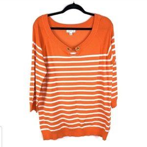Susan Graver Orange White striped Womens sz M